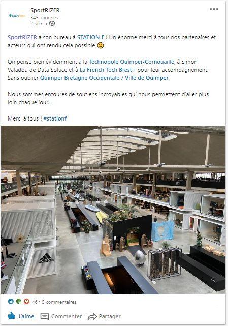 Post Linkedin de Sportrizer: bureaux à la Station F