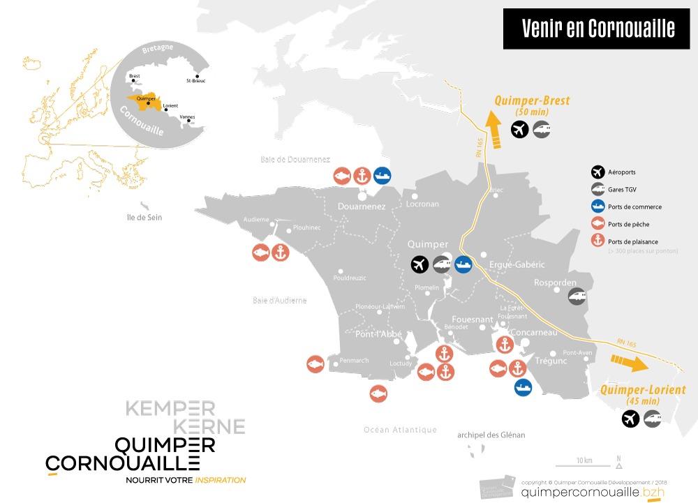 """Carte Cornouaille """"Venir en Cornouaille"""", QCD 2020"""