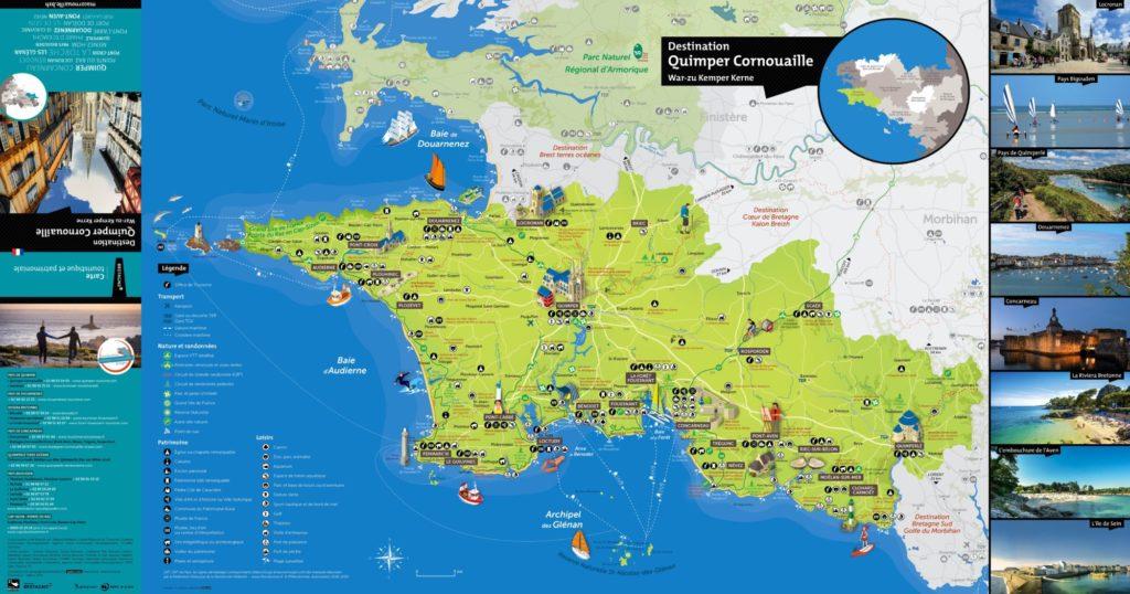 Carte de la Destination touristique Quimper Cornouaille, les sites à découvrir, les spots de surf, le patrimoine, les sites classés