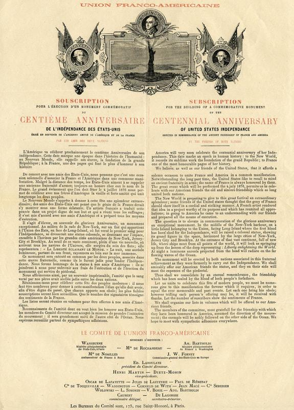 Union franco-américaine_Souscription centième anniversaire de l'indépendance des Etats-Unis
