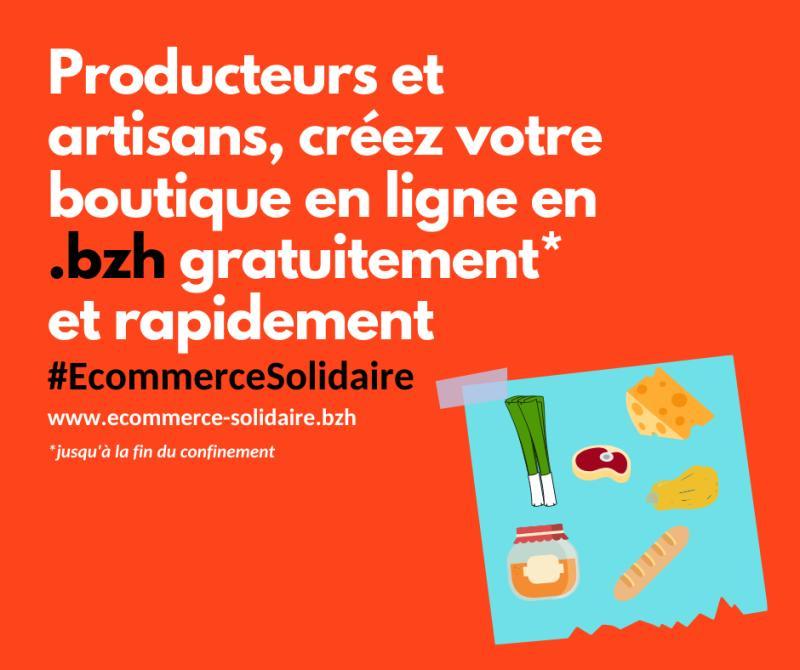 Logo de plateforme www.ecommerce-solidaire.bzh, réalisée par l'association .bzh et la communauté Friends of Presta dans le cadre du mouvement #EcommerceSolidaire pour offrir aux entreprises impactées par le confinement lié au COVID-19 un site de vente en ligne de proximité, gratuitement (avril 2020)