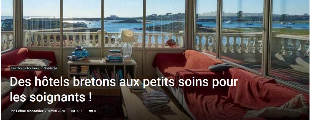 Des hôtels du label Hôtels de charm ete de caractère en Bretagne, affichent leur solidarité auprès des personnels soignants après la crise sanitaire.
