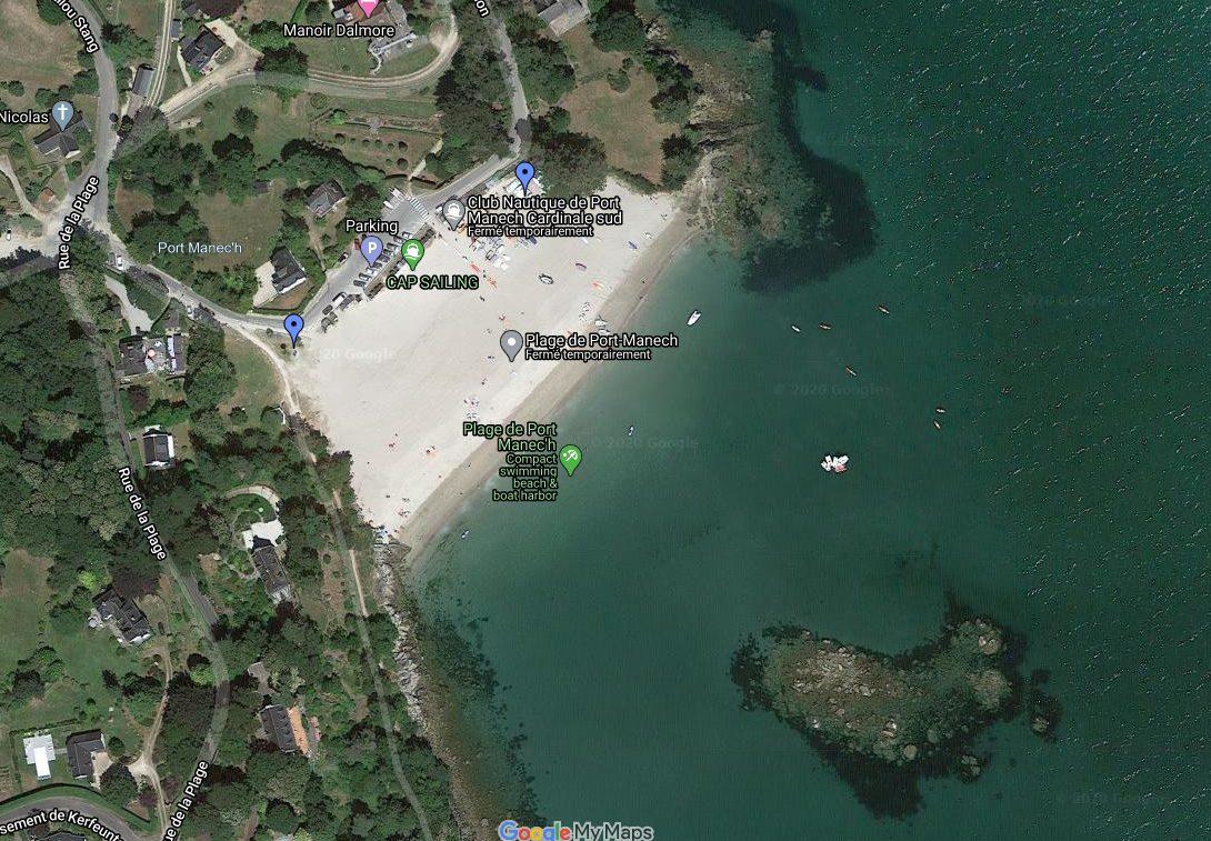 Plage de Port Manec'h, google maps, A Quimper Cornouaille, on construit des chateaux