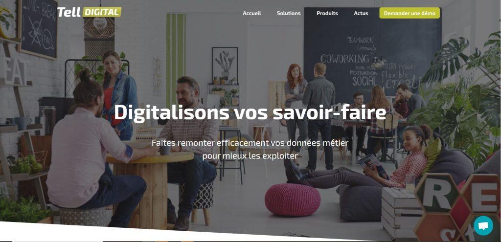 Page d'accueil du site internet de Tell Digital