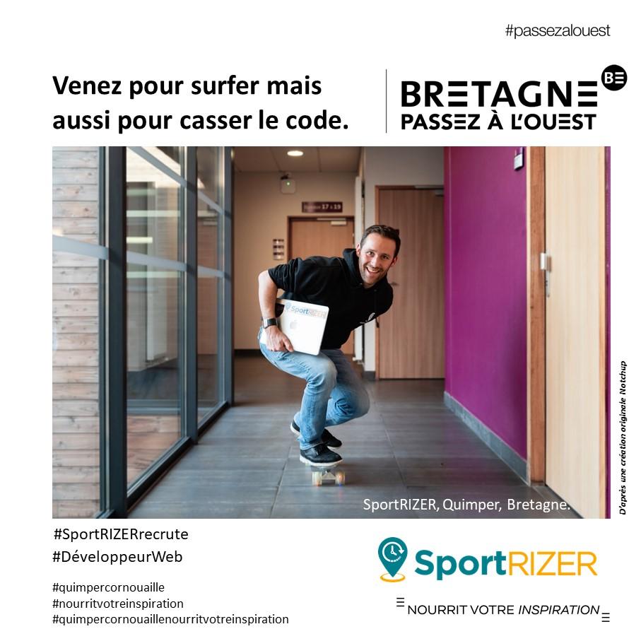 """Campagne pour aider les entreprises à recruter #passezalouest en Cornouaille avec SportRIZER """"Venez pour surfer mais aussi pour casser le code"""" (11/2019) par Marque Bretagne"""