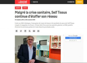 Self Tissus à l'honneur dans le Journal des entreprises du 9/11/2020