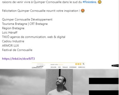 Post LinkedIn de Marque Bretagne sur le site internet de l'attractivité de la Cornouaille Quimepr Cornouaille nourrit votre inspiration