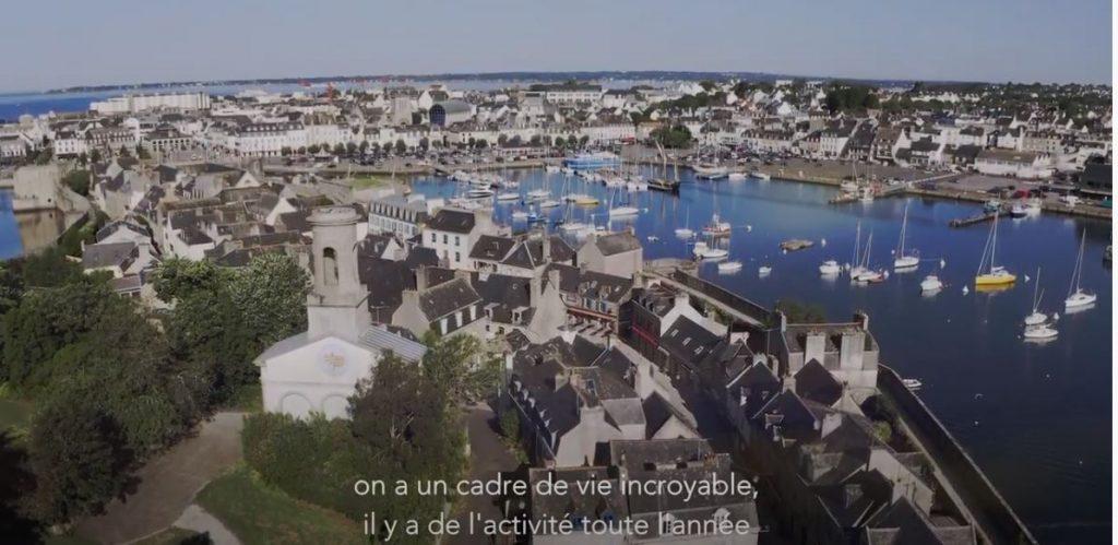 Talent de Quimper Cornouaille, Clément Chabot, vue du ciel sur la Ville-Close de Concarneau, film Tébéo pour la démarche d'attractivité de la Cornouaille. @Tébéo 2020