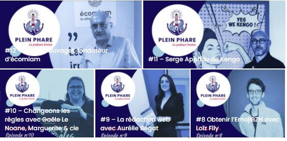 Talents de Quimper Cornouaille sur le visuel des épisodes de podcasts de Plein Phare, le 1er podcast qui fait rayonner l'économie bretonne